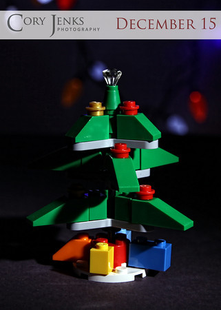 Project 365: December 15 - O Tannenbaum. A little Lego kit, 6-year-old assembly, a flash with a snoot and honeycomb grid = picture of the day.