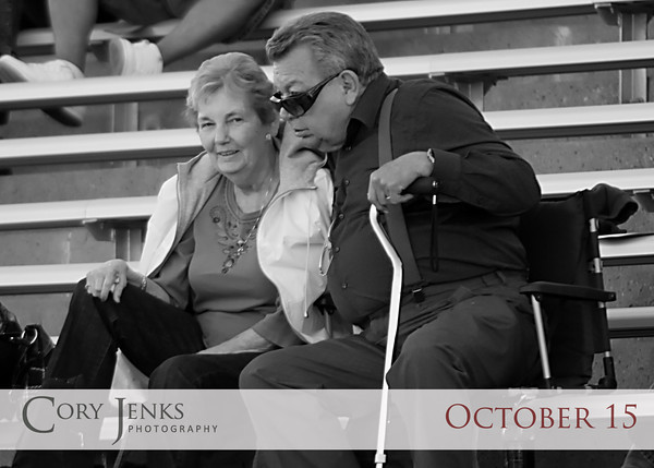 Project 365: October 15 - 50th. Parents celebrated their 50th wedding anniversary today. Not with some big elaborate party, but by simply watching their grandson play football. Congratulations Mom and Dad.