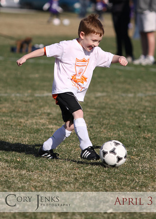 Project 365: April 3 - Soccer joy. Colton finally got to play soccer this Spring. His first game of the season with his new team, the Jaguars!