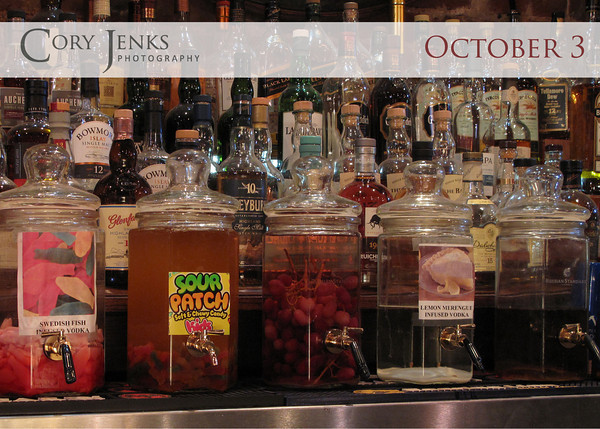 Project 365: October 3 - Infused. Swedish Fish, Sour Patch Kids, Grape, Lemon Meringue, and Bacon infused vodka. Say what?