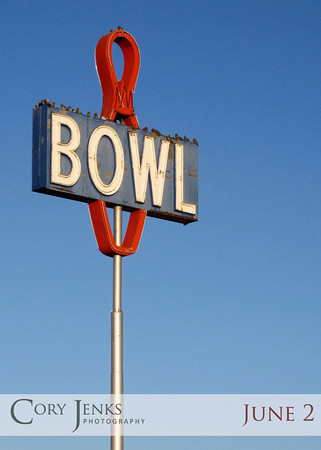 Project 365: June 2 - Empty Bowl. A closed up bowling alley with the classic neon sign standing as an homage to a time gone past.