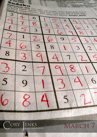 Project 365: March 7 - Sudoku. I'm not much of a crosswrod puzzle person but I do love a good Sudoku puzzle.