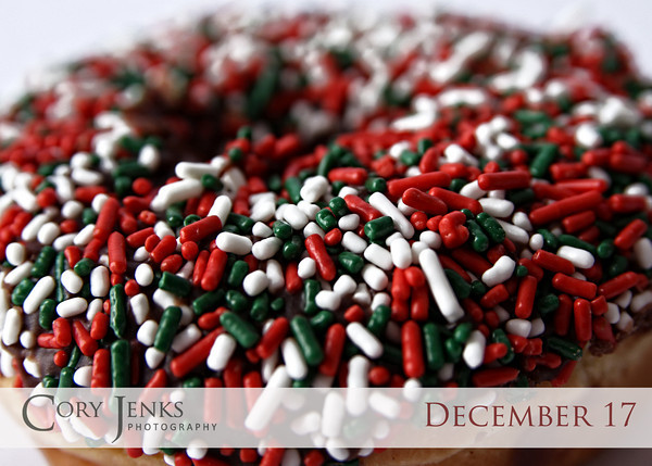 Project 365: December 17 - Sprinkles. This time of year is the only time when the sprinkles on the donuts are red, green, and white.