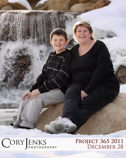 Project 365: December 28 - Mother & Son. A winter portrait of a mother and son in the Colorado snow.