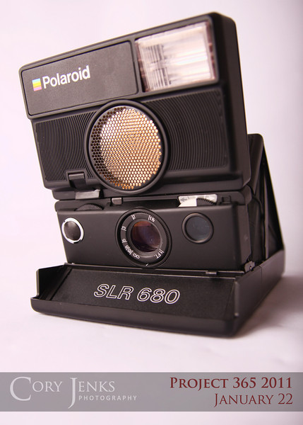 Project 365: January 22 - Polaroid. A classic Polaroid SLR 680. Owned by my parents from circa 1983ish. This produced instant photos that developed right before your eyes. Film cartridges are still available. Maybe someday I'll try my hand with this camera.