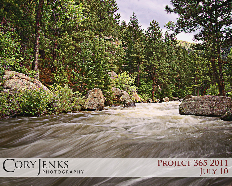 Project 365: July 10 - St. Vrain River. The St. Vrain river just outside Lyons, Colorado. Water is high and fast.
