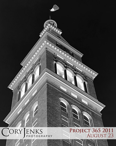 Project 365: August 23 - Clock Tower. Thought this photo was more interesting when inverted.
