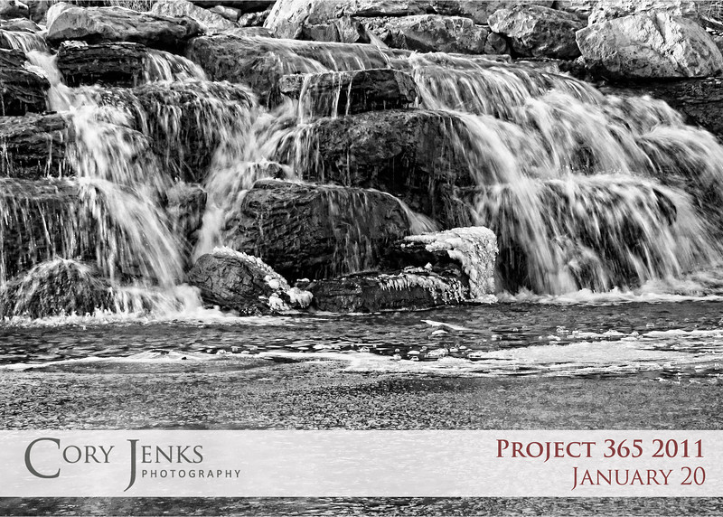 Project 365: January 20 - Winter Falls. A simple waterfall transforms into a dramatic scene with freezing temperatures and slower shutter speeds.