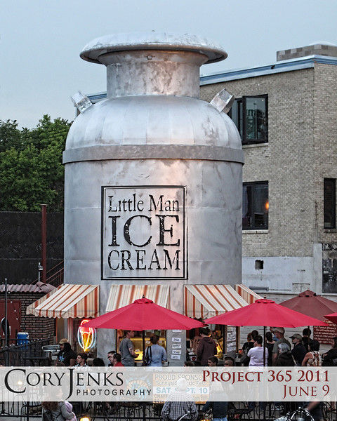 Project 365: June 9 - Little Man Ice Cream. How did I not know of a 28 foot high, 15 foot diameter, 14,000 pound milk jug that served the most excellent ice cream? And tonight, Little Man Ice Cream was hosting a poetry slam! Excellent.