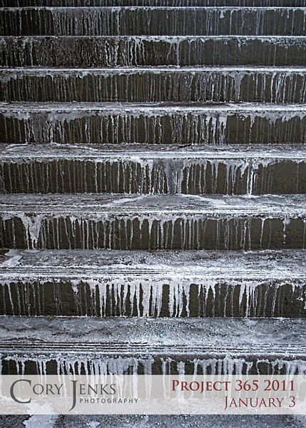 Project 365: January 3 - Steps. Concrete steps with remnants of ice melt makes for an interesting photo. Personally, these steps leaving the office on the first day back to work after a two week vacation, never looked nicer.