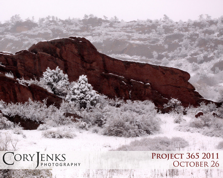 Project 365: October 26 - October Snow. First snow fall of the season. The new snowfall is striking contrast against the red sanstone hogbacks.