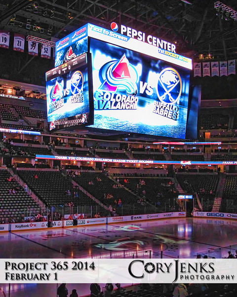 Project 365: February 1 - Pepsi Center. How to take my mind of tomorrow's game? Took the family to the Avalanche game this afternoon. Avs topped the Sabres 7-1. Great game!