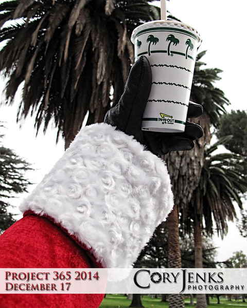 Project 365: December 17 - Santa's Helping Hand #17. This is the seventeenth photo in the 2014 series called Santa's Helping Hand.<br /> <br /> Santa knows where to get a Double Double and a chocolate shake when he is down in southern California.