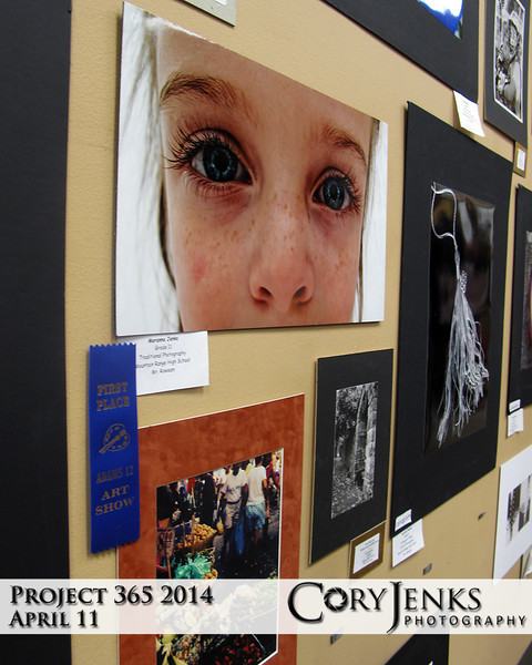 "Project 365: April 11 - The ""Eyes"" Have It. Moranna  was awarded first place for her entry in the Adams 12 School District Art Contest in the category of Photography.  She won't admit I am an influence, but I am betting I might be! Great job Momo!"