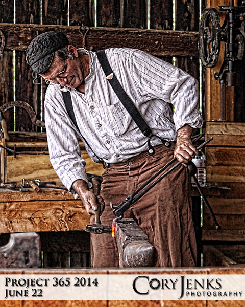 Project 365: June 22 - Blacksmith. A blacksmith at the Agricultural Heritage Center at the Lohr/McIntosh Farm n Boulder County.