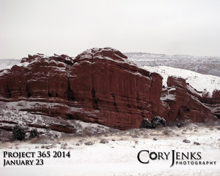 Project 365: January 23 - Snowy Red Rocks. I know I have shot this rock formation several times, but look at it, why wouldn't I?