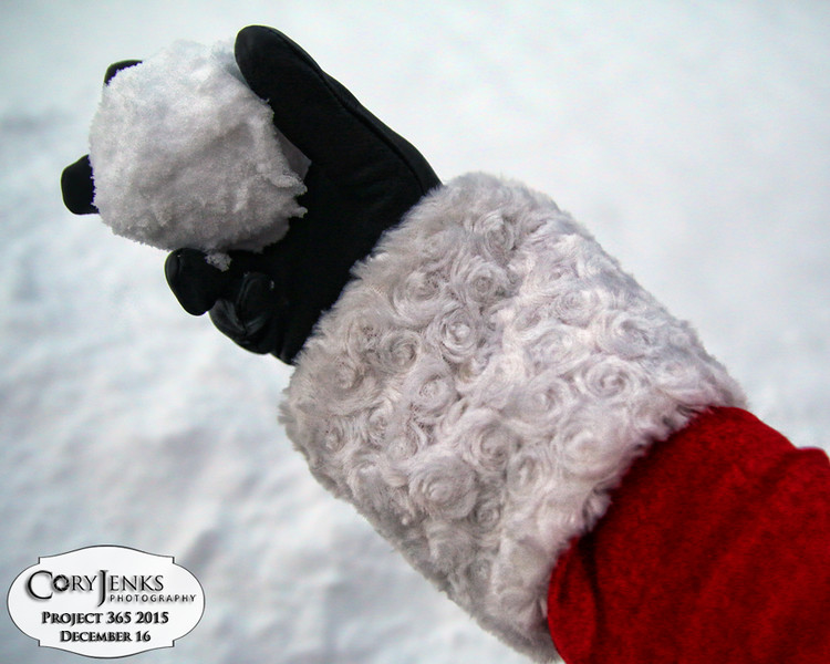 Project 365: December 16 - Santa's Helping Hand 16.<br /> <br /> Santa helps release the tension by starting a snowball fight. The factories are running at full capacity and the stress level is high. No elf knew who threw the first volley.