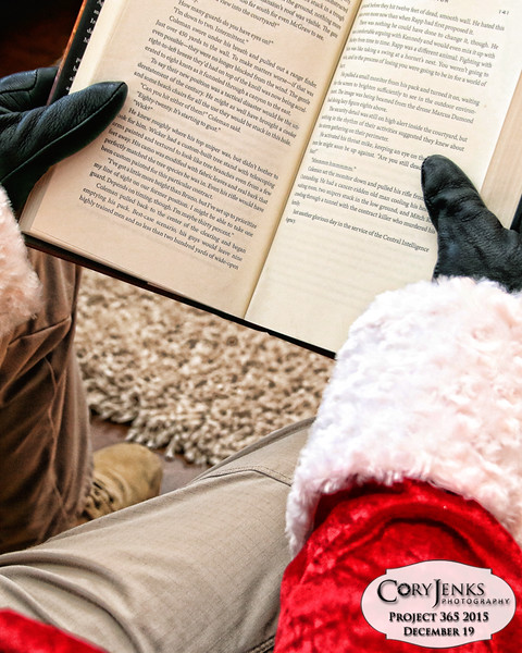 Project 365: December 19 - Santa's Helping Hand 19.<br /> <br /> Santa, after helping at the North Pole stables, takes a moment to catch up some leisurely reading.