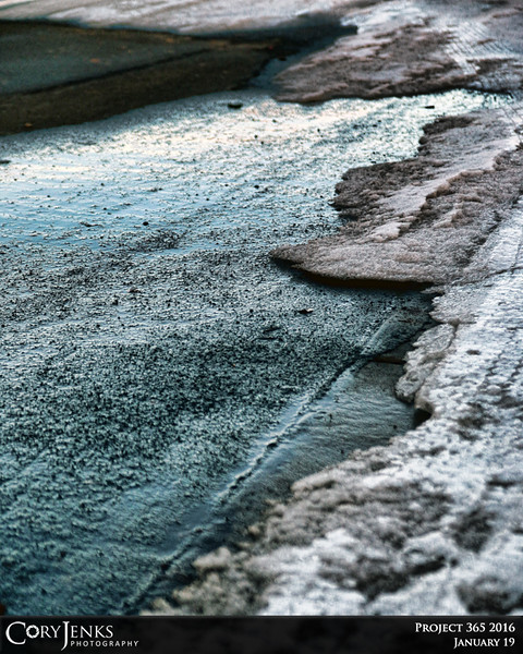 Project 365: January 19 - Iceland. The curb and street in front of my home is getting a little old.