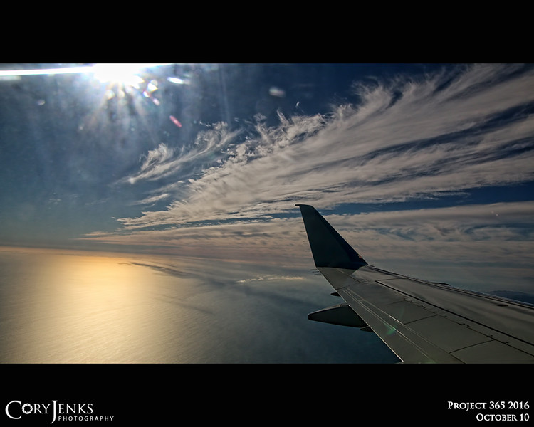 Project 365: October 10 - Window View. Taking off to the west over the ocean, slight bank to the left and then a hard turn to the right to head east to Denver and home!
