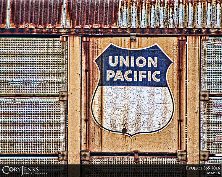 Project 365: May 16 - Union Pacific. Since I built the railway boxcar flooring table, I have been looking for a good photo of a Union Pacific sign because the flooring I used is believed to have been from a Union Pacific boxcar.
