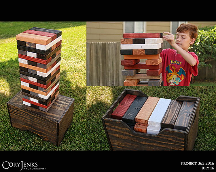 Project 365: July 16 - Jumbo Jenga. Spent the majority of yesterday cutting and staining a jumbo Jenga set and storage box/table. Hopefully this will bring years of gaming fun.