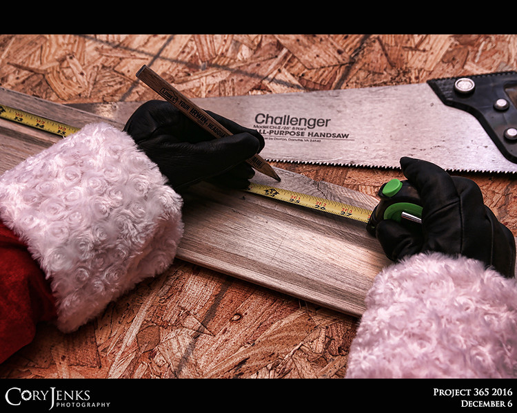 Project 365: December 6 - Santa's Helping Hand #6.<br /> <br /> Santa helps in the wood working shop and always remembers Elf Rule # 217, measure twice cut once.