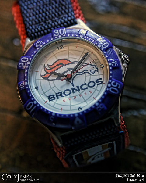 """Project 365: February 4 - About Time. It is about time for the Denver Broncos to bring home another Championship! Hopefully the saying, """"defense wins championships"""" holds true this coming Sunday! Go Broncos!"""