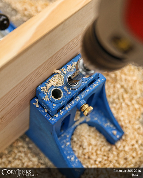 Project 365: July 1 - Pocket Screws. Using the Kreg Jig to set some pocket screws for the next big carpentry project.