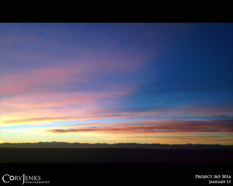 Project 365: January 11 - Western Sky. Too much time spent in the vehicle, but it does give me the opportunity to take in the Colorado sunset.