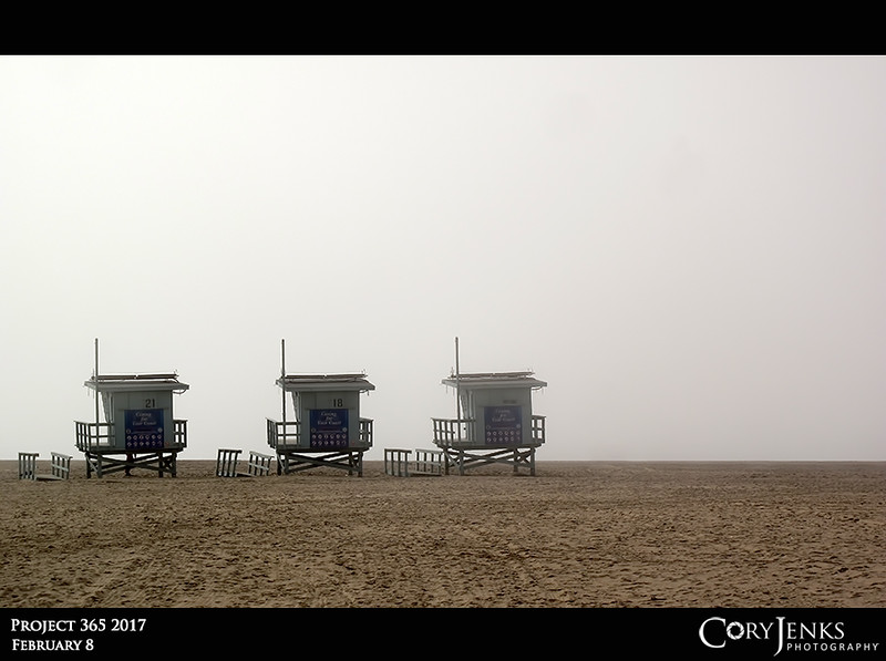 Project 365: February 8 - Public Private Beach<br /> <br /> Some low hanging clouds and cooler temperatures and the infamous Venice Beach is barren. Granted, it is a Wednesday, poor wimpy Californians. Yes, there is an ocean just beyond; I heard it.