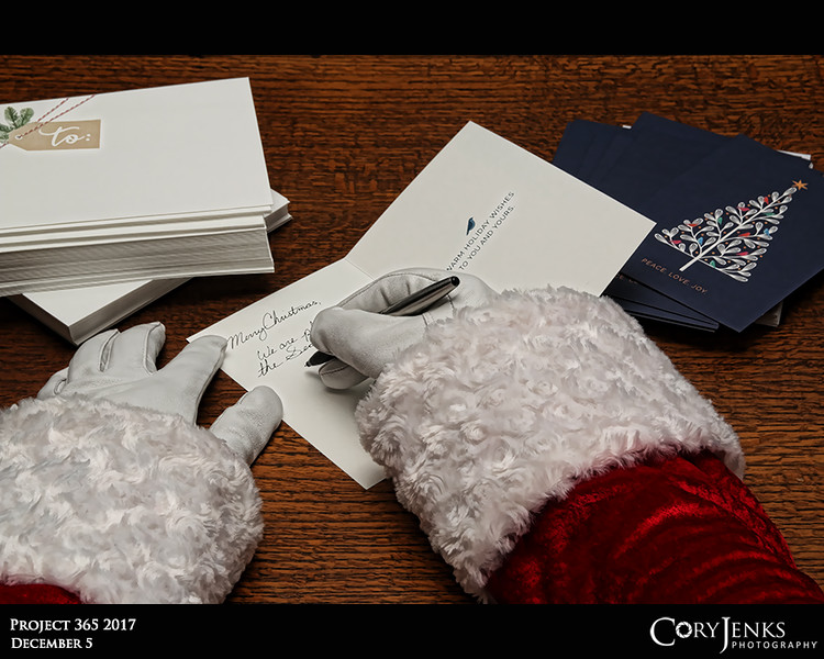 Project 365: December 5 - Santa's Helping Hand #5<br /> <br /> Santa helps Mrs. Claus write the Holiday correspondence. Having thousands of elves to thank and wish a Merry Christmas, it is a monumental task.