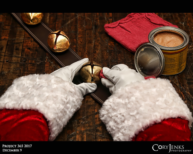 Project 365: December 9 - Santa's Helping Hand #9<br /> <br /> Santa takes some time to help  polish the sleigh bells.