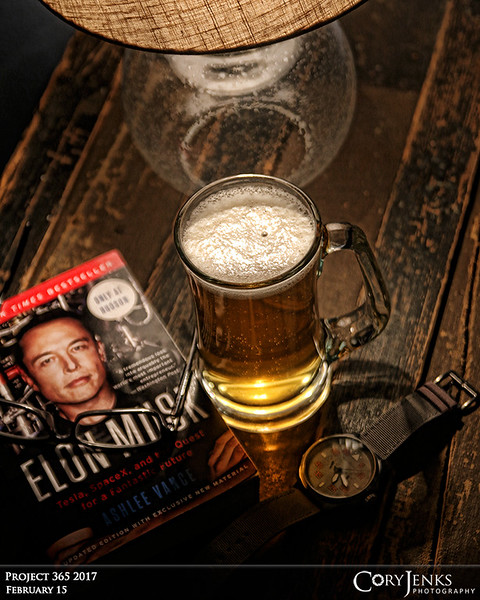 Project 365: February 15 - Hump Day B&B<br /> <br /> Made it through the better part of the week and love to relax in the early evening with a little B&B, book and brew. An Elon Musk biography and a Lizard King Pale Ale from Pipeworks  Brewing Company.