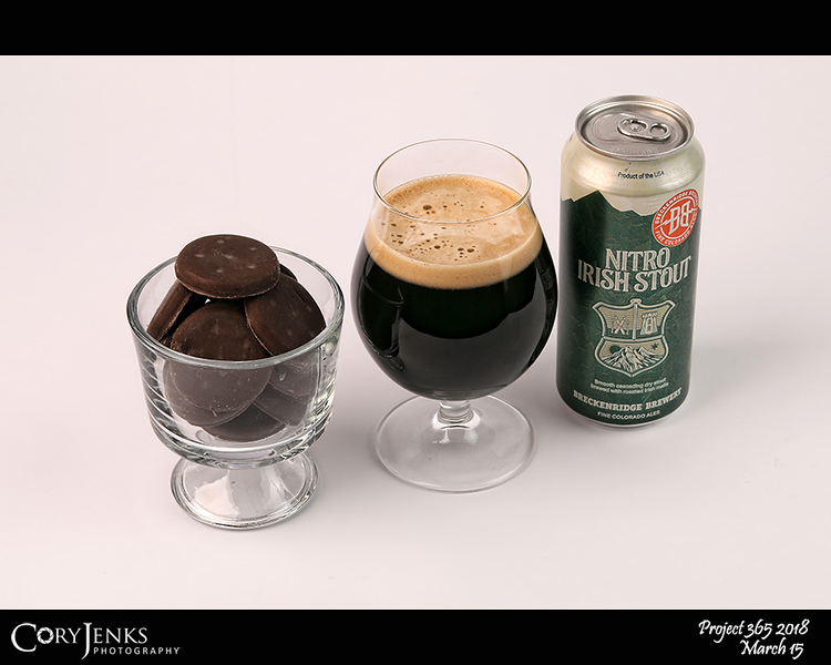 2018 Project 365: March 15 - Pairing #3<br /> <br /> Girl Scout Thin Mints and my Breckenridge Brewery's Nitro Irish Stout.