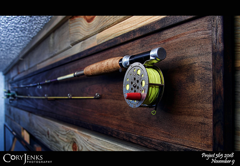 2018 Project 365: November 9 - Vintage<br /> <br /> Built a display for two family vintage fishing rods. One is a South Bend fly rod that was my father's and the other is a Shakespear baitcaster from the 1950s that was once my great-grandmother's.