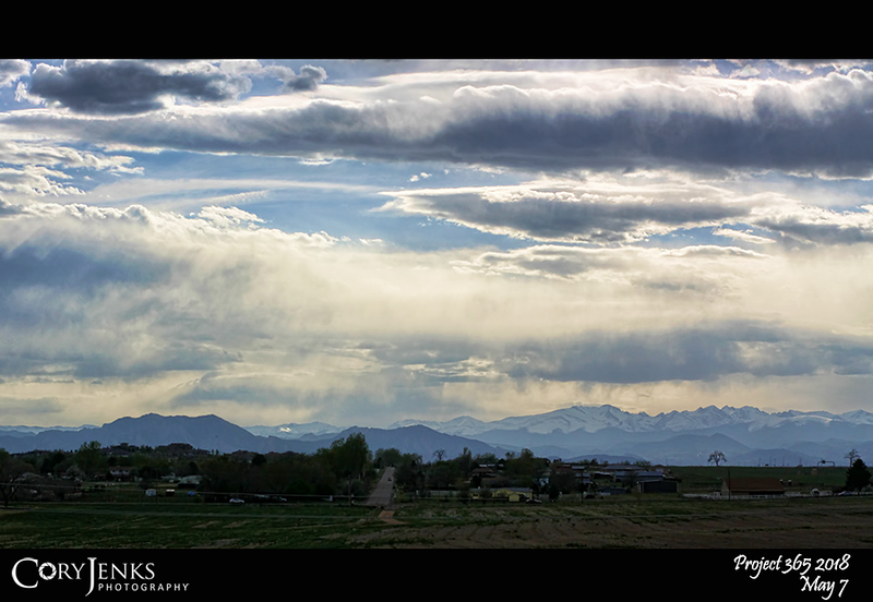 2018 Project 365: May 7 - The Range<br /> <br /> The Front Range seems to be greening up a little! See that bare tree on the right along the horizon? Looks like a perfect tree for a photo op.