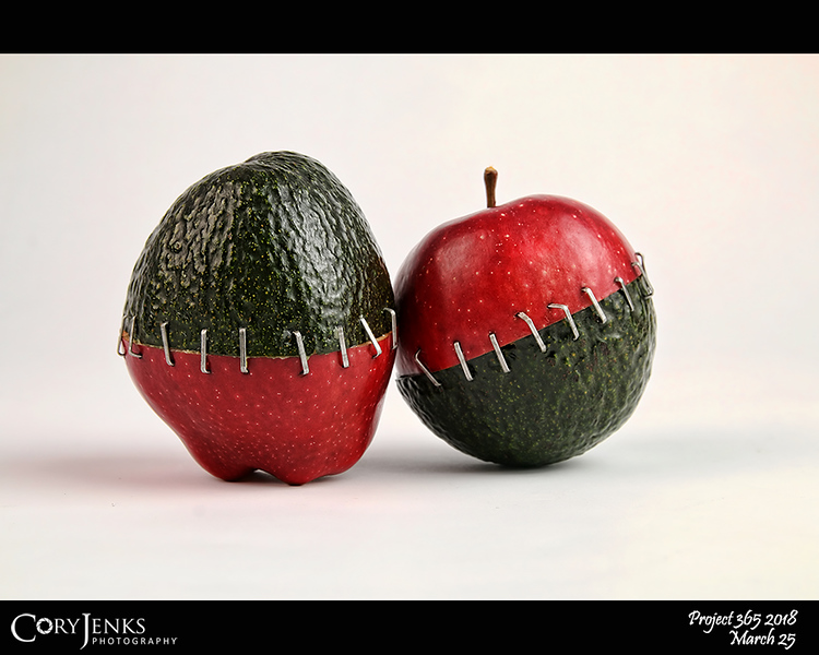 2018 Project 365: March 25 - Avocapple<br /> <br /> This is the latest in my Frankenfood series. This is an avocado and an Red Delicious apple.