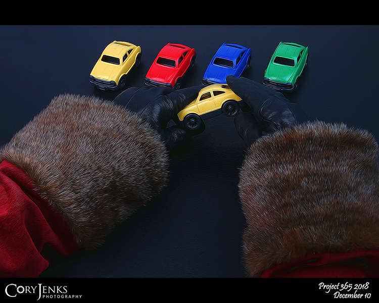 2018 Project 365: December 10 - Santa's Helping Hand #10<br /> <br /> Santa makes his way to the North Pole Toy Factory and to the Toy Car annex to help inspect the cars for toddlers to ensure there are no sharp edges for little fingers and mouths.