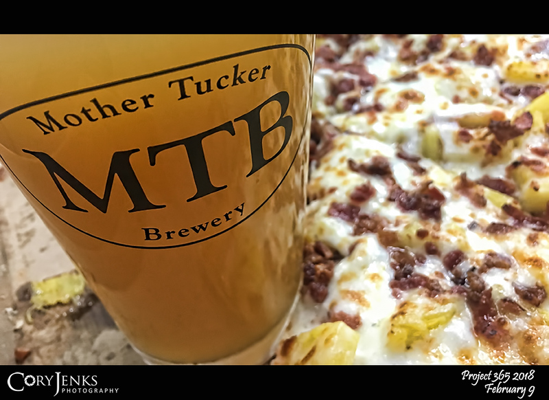 """2018 Project 365: February 9 - Beer and Pizza<br /> <br /> """"Without question, the greatest invention in the history of mankind is beer. Oh, I grant you that the wheel was also a fine invention, but the wheel does not go nearly as well with pizza.""""<br /> <br /> ~ Dave Barry"""