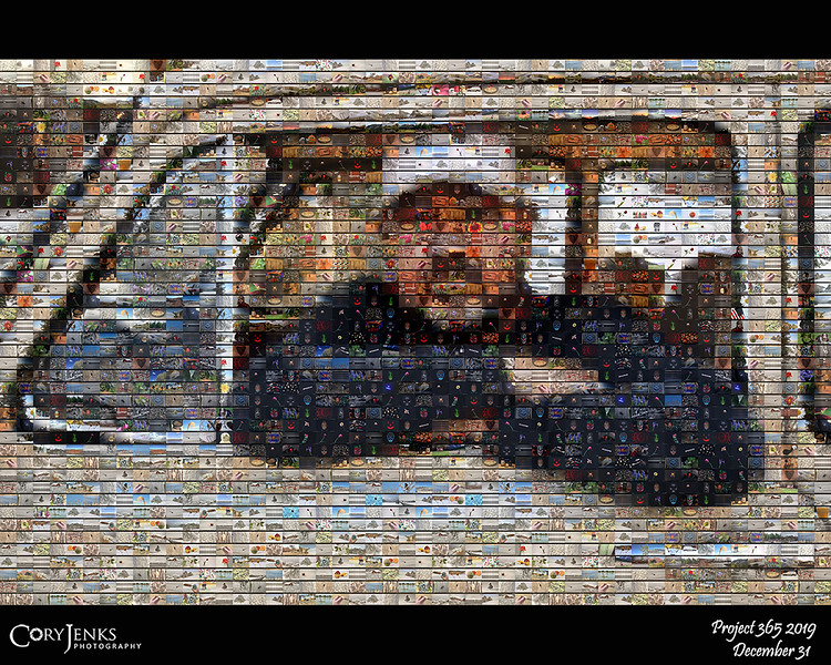 2019 Project 365: December 31 - Photographer and His Photos. <br /> <br /> I want to thank everyone that has liked, commented, or simply viewed my photos over the last 3650+ days. A self-portrait mosaic using the 364 photos from the 2019 project!