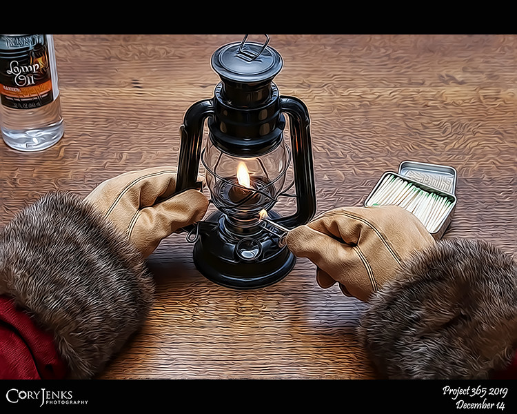 2019 Project 365: December 14 - Santa's Helping Hand #14<br /> <br /> Santa still uses oil lanterns in parts of the North Pole. The reindeer stables is one location where the lamps are still used, Blitzen is a bit high-strung and the flickering flame and warm light help calm his nerves.