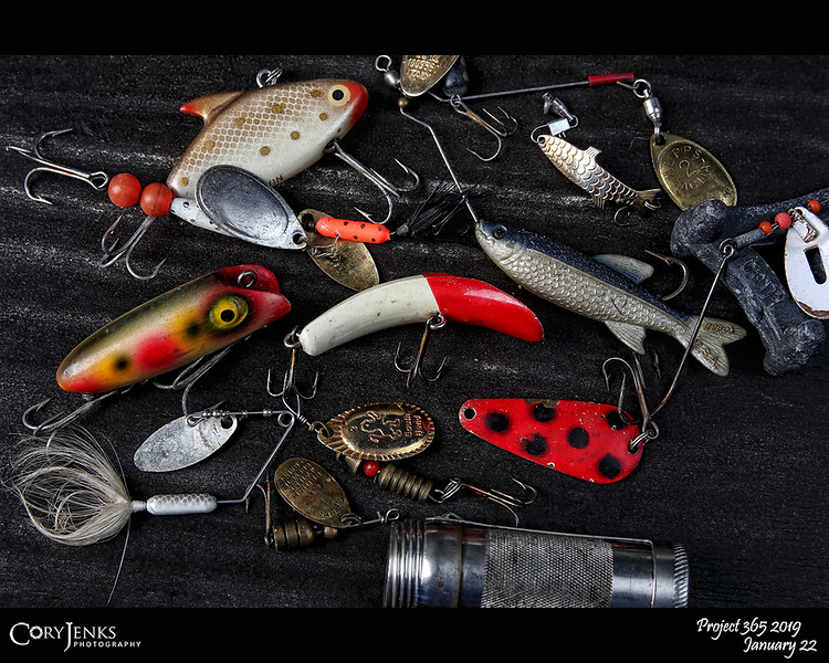 2019 Project 365: January 22 - Tackle<br /> <br /> Went through my father's tackle box and saved a few of his old lures. The goal this year is to use a few of these to catch a few fish.