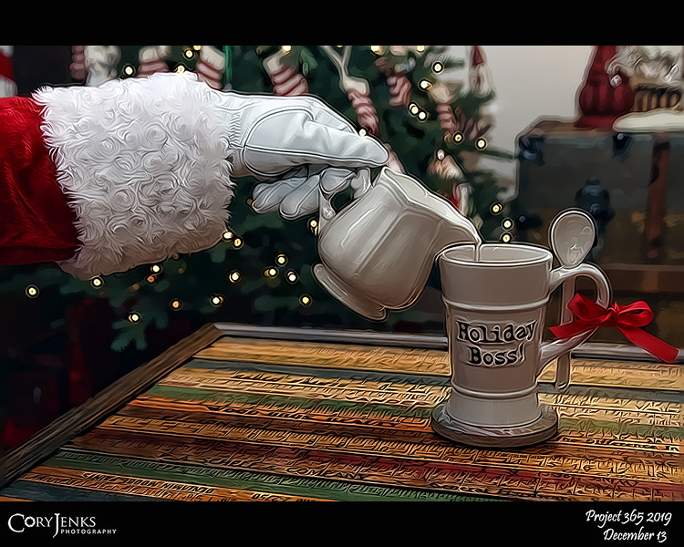 2019 Project 365: December 13 - Santa's Helping Hand #13<br /> <br /> Santa makes coffee for the real boss of the holiday season, Mrs, Claus! Everyone knows who really keeps the North pole running like clockwork!