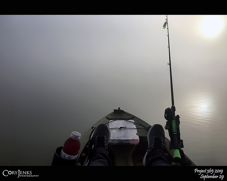 2019 Project 365: September 29 - Into The Abyss<br /> <br /> Have kayak, bait casting rod and reel, and chartreuse chatterbait; into the foggy abyss I go angling for the elusive largemouth bass.