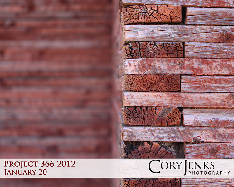Project 366: January 20 - Stacked Barn. Thought this run-down barn with it's unique stacked walls made for a great test of depth of field and a chance to capture some great textures.