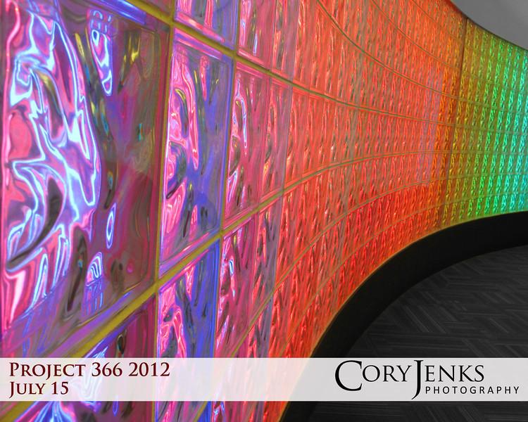 Project 366: July 15 - Art Wall. This neon art wall is at Washington-Dulles International Airport.