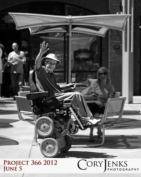 Project 366: June 5 - Uber-Chair. Not your average wheelchair. Incorporating Segway technologies, this chair can navigate stairs, stay in the upright position like in this photo, or lowered into a standard sitting height.