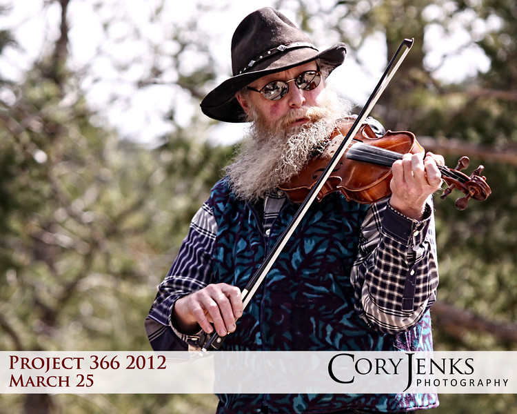Project 366: March 25 - Rocky Mountain Fiddler. Pulled off at an overlook near Estes Park and was greeted with knee-slappin' fiddle music.
