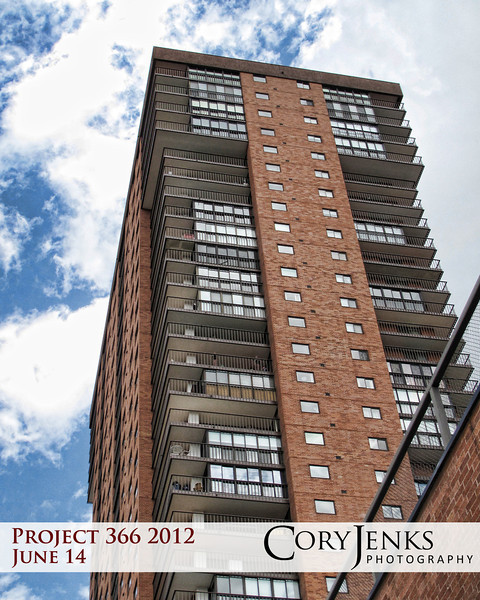 Project 366: June 14 - Tall Building. The sky and the orange brick caught my attention. Felt it needed to be captured.